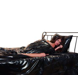 afbeelding Lak dekbed overtrek zwart