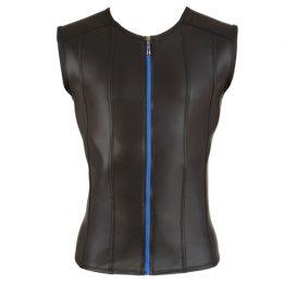 afbeelding Shirt Met Lederlook En Lange Rits - Zwart