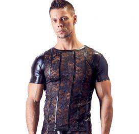 afbeelding Kanten Shirt Met Wetlook Zijkanten