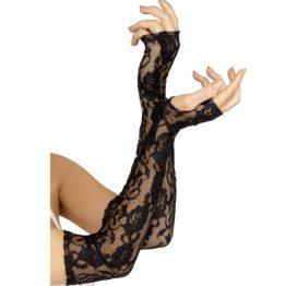 afbeelding Zwarte vingerloze kanten handschoenen