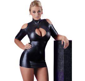 afbeelding Cold Shoulder Wetlook Mini Jurkje - Zwart