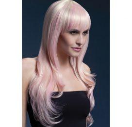 afbeelding Fever lange blonde pruik met roze highlights