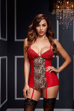 afbeelding Rood luipaard jurkje (Maat: One size)