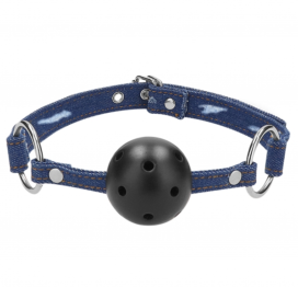 afbeelding Breathable Ball Gag Blue Denim