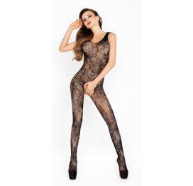 afbeelding Open kruis catsuit van zwart netstof