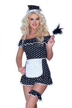 afbeelding Gestippeld huishoudster kostuum (Maat: S)
