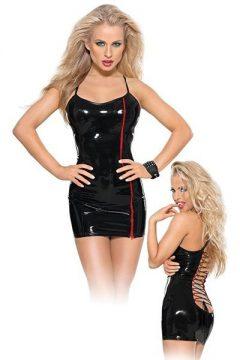afbeelding PVC mini jurk met rode rits (Maat: 2XL)