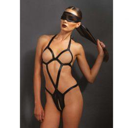 afbeelding Bondage body met bijpassend oogmasker - Zwart