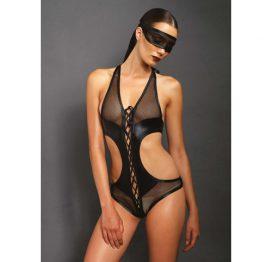 afbeelding Body met open kruis en bijpassend oogmasker - Zwart