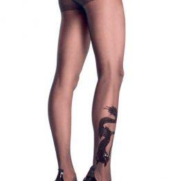 afbeelding LA Dragon tatoo sheer pantyhose OS