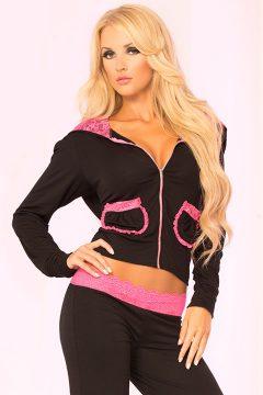 afbeelding Luxe vest (zwart/roze) (Maat: L)
