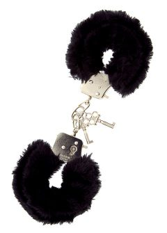 afbeelding Metalen handboeien afgewerkt met pluche (Kleur: zwart)