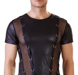 afbeelding Stoer wetlook shirt met ringen
